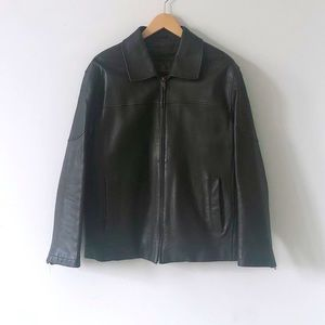 Danier Genuine Brown Leather Bomber Jacket Size M
